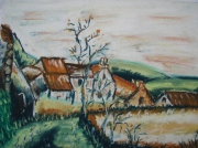 dessin paysages village nature maison campagne : Village